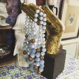 VTG Light Blue Plastic Beaded Necklace
